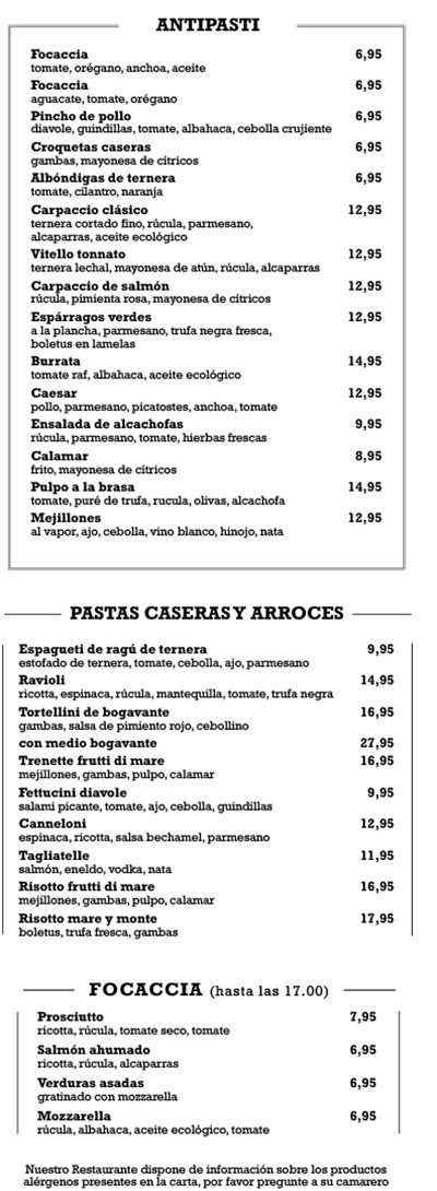 Republic Denia Menu